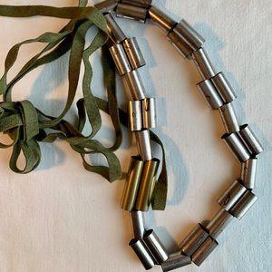 Boho Oxidized Tube Bead Double Strand Necklace